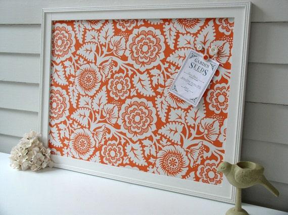 Magnet Board - Storage Organizer Bulletin Board Framed Magnetic 20.5 x 26.5 Orange Blossom - Memo Board with Joel Dewberry Designer Fabric