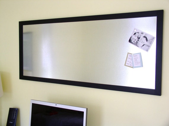 HUGE Conference Room Office Bulletin Board Magnetic Memo Board Organizer Oversized 22 x 52 Dry Erase Board Galvanized Steel and Black Frame