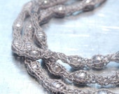 Floating Freshwater Pearls Knitted Necklace - Hand-knitted from Silver Gray Nylon Yarn with Floating Silver Freshwater Pearl Accents