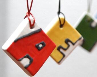 Alphabet Ceramic Tile Pendant - Handsculpted Ceramic Tile Letter Pendant