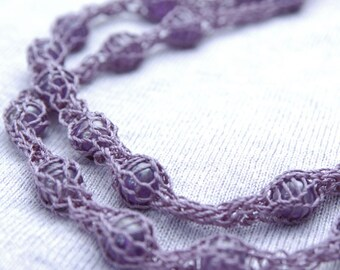 Floating Amethyst Beads Knitted Necklace - Hand-knitted from Lavender Colored Nylon Yarn with Floating Amethyst Bead Accents