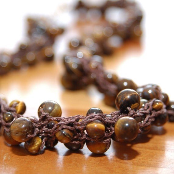 Tiger Eye Yarn Necklace - Hand-knitted from Chocolate Brown Nylon Yarn  with Brown Tiger Eye Beads
