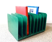 Vintage Industrial Metal File Holder / Office Organization / Green Filer