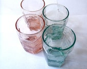 Vintage Juice Glasses / Set of Four Small Teal and Pink Glasses