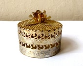 Vintage Small Gold Box / Rose Home Decor