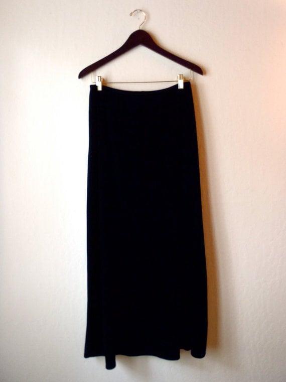 Vintage Black Velvet Maxi Skirt