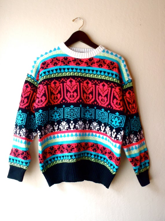 Vintage Bright Retro Ski Sweater