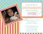 Tropical Colors- Digital Birthday Invite- print your own