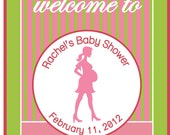 Baby Shower Welcome Sign in Pink and Green- digital file- you print