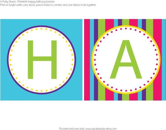 Items similar to Classic Girl Happy Birthday Banner in fun bright ...