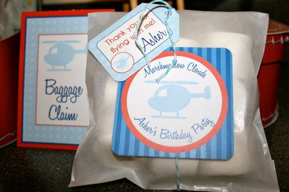 Helicopter Birthday Party- Marshmallow Clouds Favor Labels- print your own