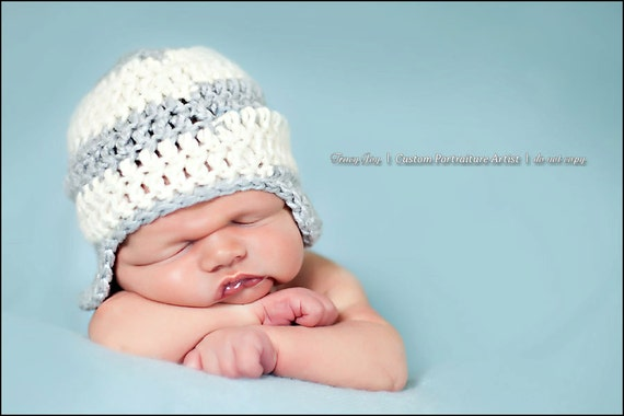 Grey and White Stripe Newborn Earflap Hat