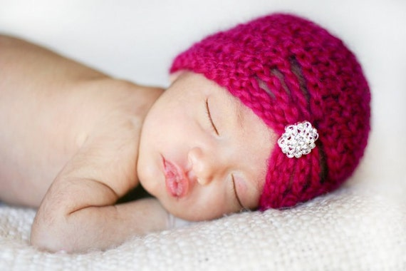 Newborn Hot Pink Flapper Hat with Jewel