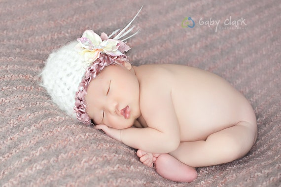 Newborn Hat with Flower and Feather Accents
