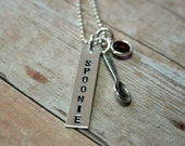 Reserved Listing for funkymango  Hand stamped Sterling Silver Spoonie necklace