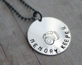 Sterling Silver Handstamped Photographer's Camera Necklace - Memory Keeper