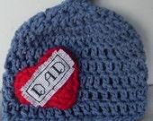Love My Dad Cross Stitch and Crochet Hat