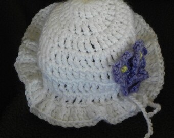 Sunhat with Violets INVENTORY REDUCTION SALE Ready to Ship