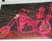 "FREE Shipping The""Lady on Motorbike""   1971 Original Blacklight Vintage Poster"