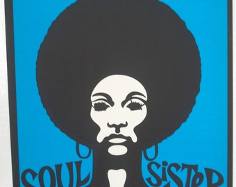 "Original"" Soul Sister "" Black light Vintage Poster"