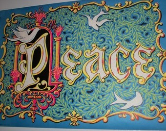 "Blacklight ""Peace Doves"" Original Vintage Poster"