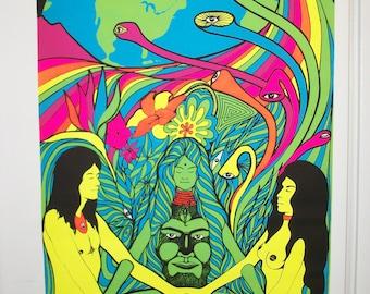 "SALE  ""Earth Love It or Leave It"" Blacklight FREE Ship  Original Vintage Poster"