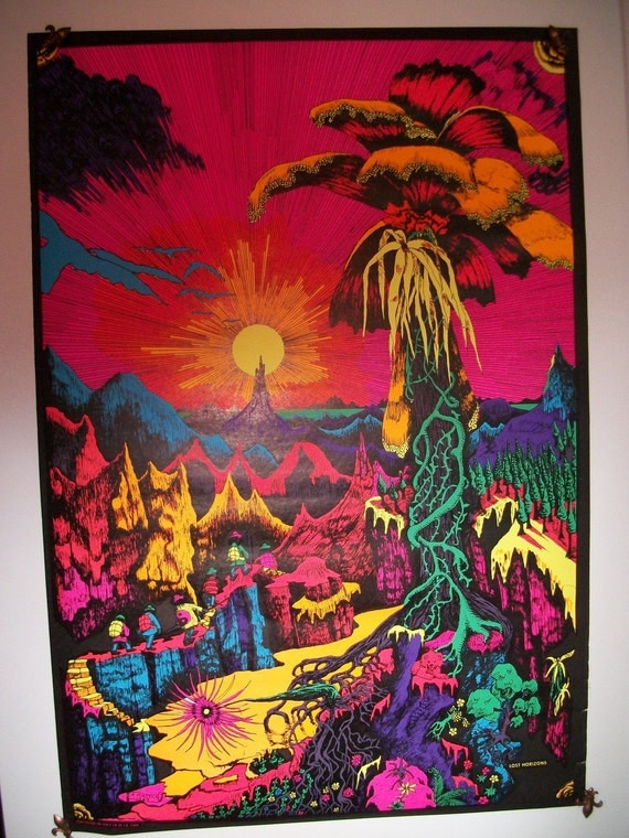 """SALE and Free Shipping Original Vintage Blacklight 1969 """"Lost Horizons"""" Poster"""