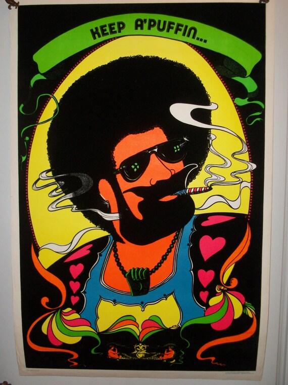 "SALE ""Keep A' Puffin"" 1972 Flocked Original Vintage Blacklight Poster"