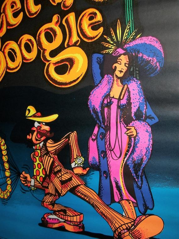 1972 Let's Boogie Blacklight Vintage Original