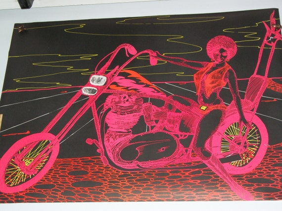 "FREE Shipping The""Lady on Motorbike""   1971 Original Blacklight Vintage Poster"
