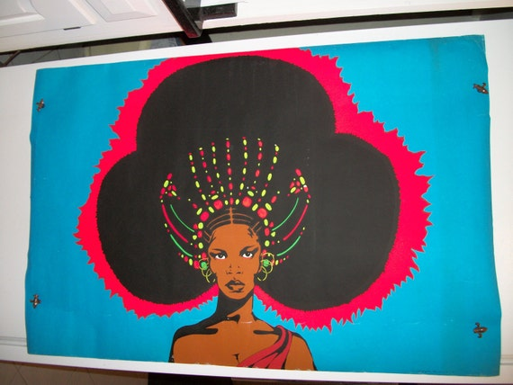 "Original Vintage ""Afro Queen"" Blacklight Poster 1972"