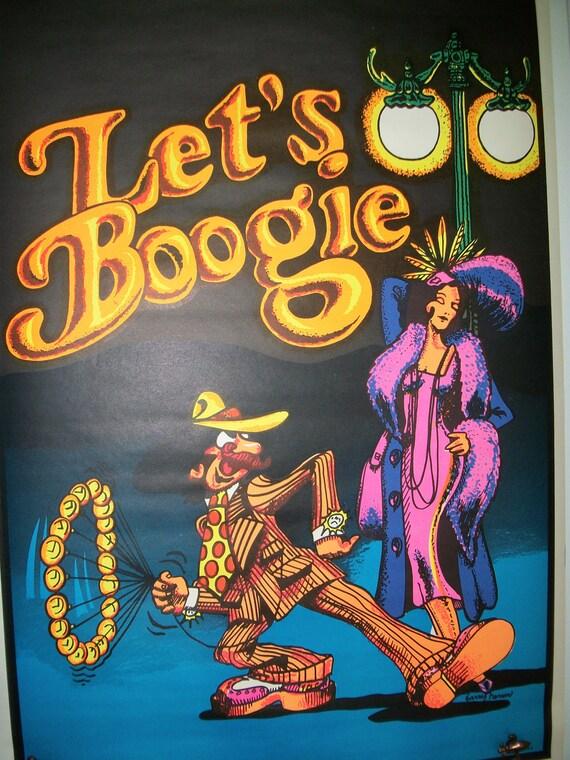 """Blacklight """"Let's Boogie"""" Original Vintage Poster 1972"""