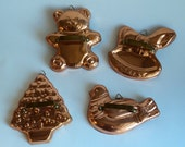 4 Copper Cookie Cutters Vintage Copper Cookie Cutters Bear Dove Rocking Horse Tree