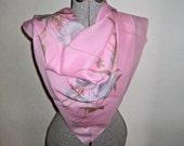 SALE - Scarf Designer Scarves Large Vintage Scarf Sheer Mirta Lelli Pink Floral B50
