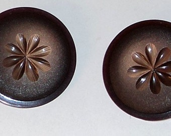 2 Buttons Vintage Buttons Lucite Carved Large Coat Buttons