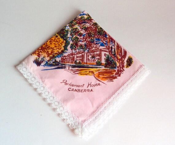 Handkerchief Hanky Hankie Antique Handkerchief Hankys Vintage Hankies Hankerchief  Souvenir Parliament House Canberra Pink