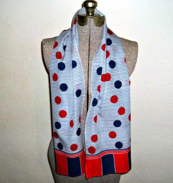 Vintage Retro Scarf Blue Red Polka Dots Long  53 x 11    B3
