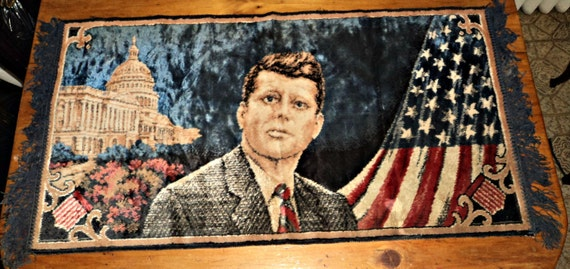 Vintage Wall Tapestry Rug John F Kennedy Historical Souvenir
