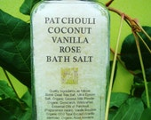Bath/Home Spa - Patchouli, Coconut, Vanilla Rose Bath Salt - Relax, Release, Rebalance - Bokek Dead Sea Salt, 100% Organic Essential Oils