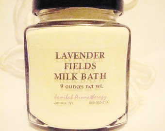 Lavender Fields - Organic & Wildcrafted Essential Oil Skin Soothing Milk Bath to Relax, Revive, Rebalance, 9 oz.