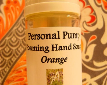Sweet Orange Castile Foaming Hand Soap - Aromatic, Easy Carry, Natural Anti-bacterial, Hand Cleaning, Organic Castile Soap, 2 oz./60 ml.
