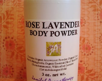 Rose Lavender Body Powder - Sensuous Wildcrafted Essential Oils, Radiant, Talc-Free, Soothing - Great for Summer Use, 3 oz.