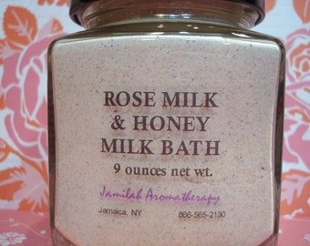 Rose Milk & Honey Organic, Wildcrafted Essential Oil Milk Bath with Bulgarian Rose Otto, Moisturizing, Memorable, Marvelous, 9 oz.