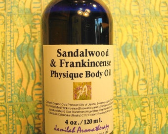 Sandalwood & Frankincense Physique Body Oil - Grounding, Richly Scented Organic, Wildcrafted Body Massage Oil Skin Care, 4 oz./120 ml.