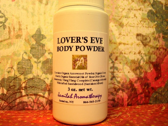 Lovers Eve Body Powder - Fragrant, Inviting Organic & Wildcrafted Essential Oils without Talc to Soothe, Freshen, Allure - 3 oz.