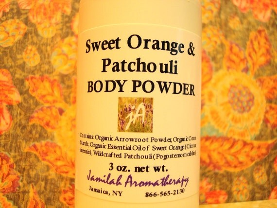 Sweet Orange & Patchouli Body Powder - Delightful, Summery Organic / Wildcrafted Essential Oils without Talc For Carefree Comfort, 3 oz.
