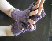 Hand Knitted Lacey Mauve Fingerless Gloves