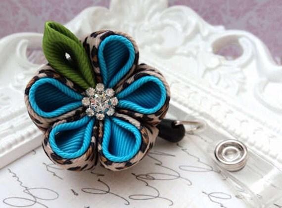 Wild Cat & Turquoise Kanzashi Flower Badge Holder Reel