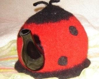 """Felted Tea Cozy - """"Lady Bug"""""""