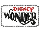 Disney Wonder cruise with frame fill embroidery design for quilts, clothing & more - multiple sizes